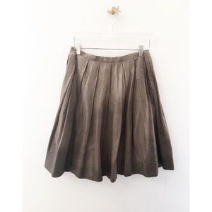 theory / brown ombré pleated cotton skirt